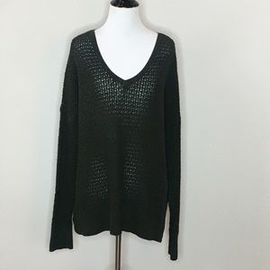 American Eagle green waffle v-neck sweater- L